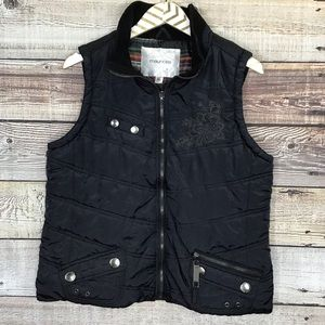Maurices Puffer Vest XL Black Embroidered